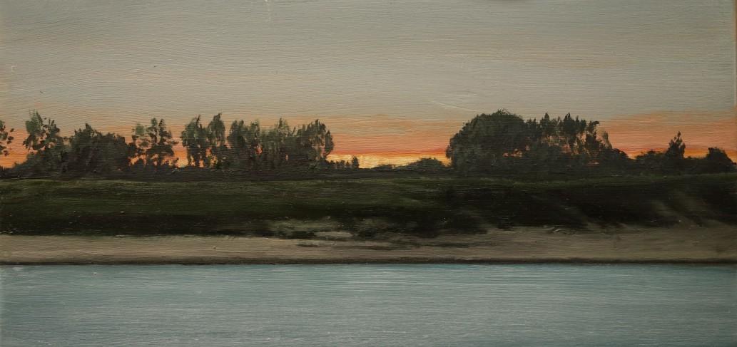 avond loowaard, 10 x 22 cm, oil