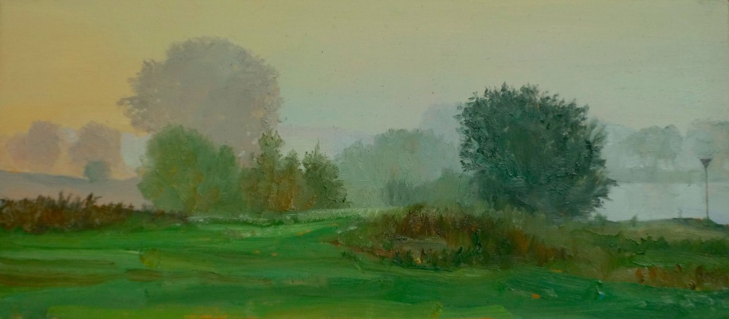 early mist op de ijssel, september 2014, 9 x 20 cm pencil
