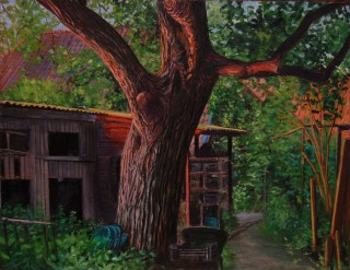 De notenboom van de Boekhorstlaan, 21 x 28 cm, olieverf