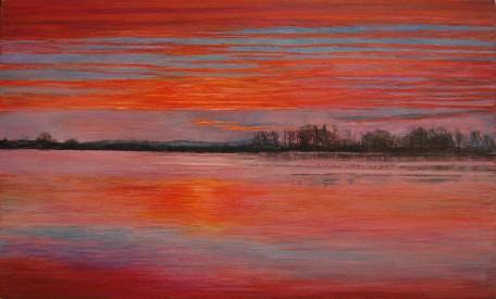 Redichemsewaard ochtend 2012, 18,5 c31 cm, aquarel/potlood