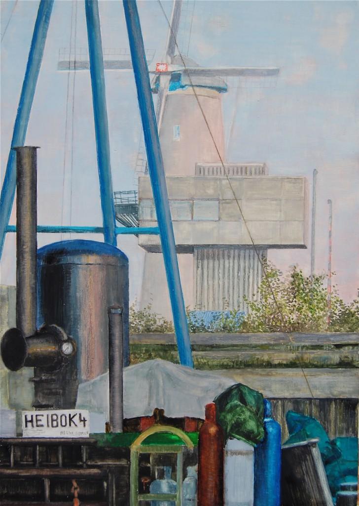Voorhaven Schiedam 2011, 21 x 31 cm, aquarel/kleurpotlood