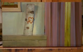 Hart en zonlicht, februarie '16, 17 x 31 cm oil